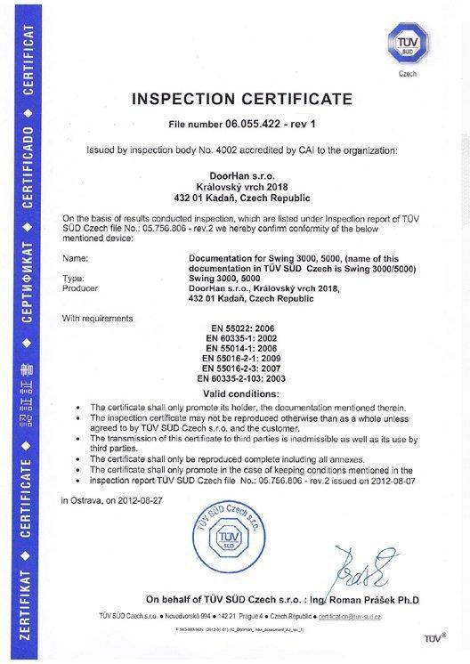 Inspection Certificate Swing